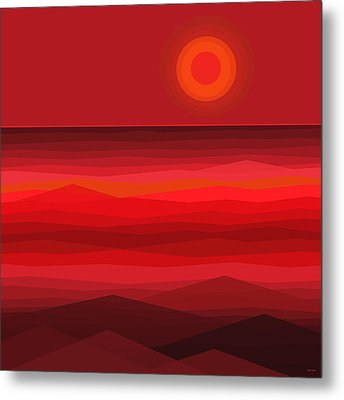 Red Sunset Metal Print by Val Arie