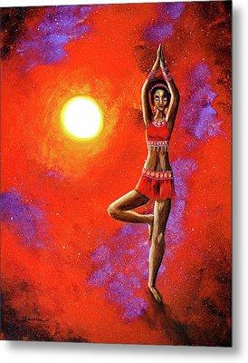 Red Tara Yoga Goddess Metal Print