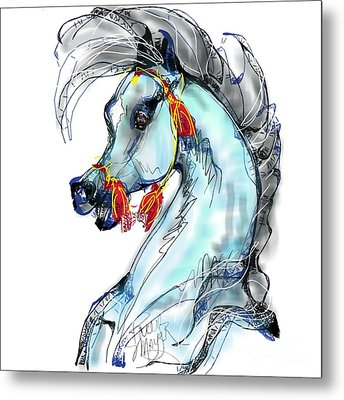 Red Tassle Stallion Metal Print