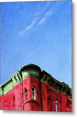 Red Tenement Metal Print by Peter Salwen