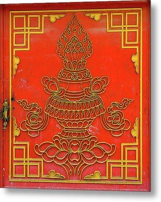 Red Tibetan Door Metal Print by Dutourdumonde Photography