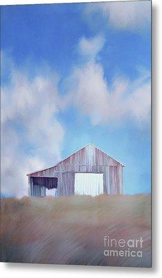 Red Tobacco Barn  Metal Print by Stephanie Frey