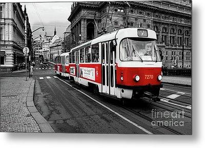 Red Tram Metal Print