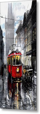 Red Tram Metal Print by Yuriy  Shevchuk