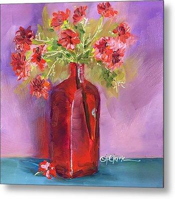 Red Vase-pink Flowers Metal Print by Donna Pierce-Clark