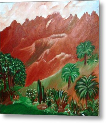 Metal Print featuring the painting Red Volcano by Sherri  Of Palm Springs