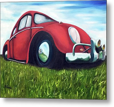 Red Vw Metal Print