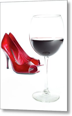 Red Wine Glass Red Shoes Metal Print