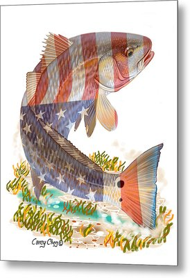 Redfish, White And Blue Metal Print by Carey Chen