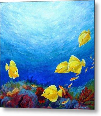 Reef With Yellow Tangs Metal Print