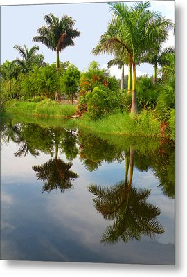 Metal Print featuring the photograph Reflected Palms by Rosalie Scanlon