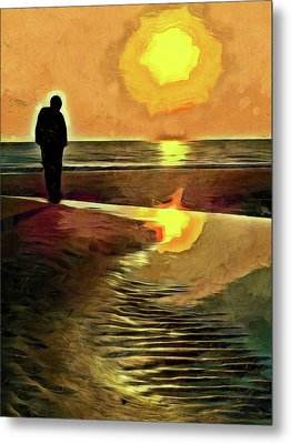 Metal Print featuring the mixed media Reflecting On The Day by Trish Tritz