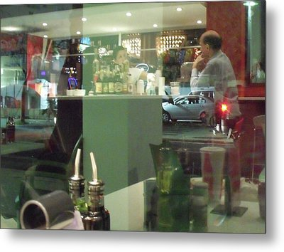 Reflection Of Man Drinking A Beer II Metal Print