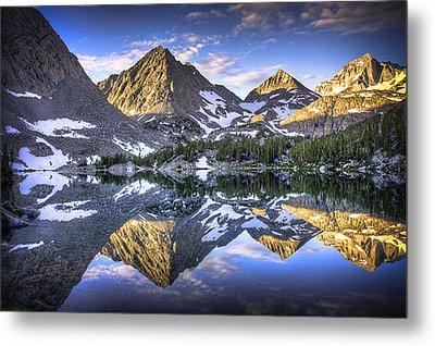 Reflection Of Mountain In Lake Metal Print