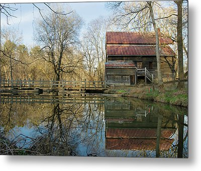 Reflection On A Grist Mill Metal Print by George Randy Bass