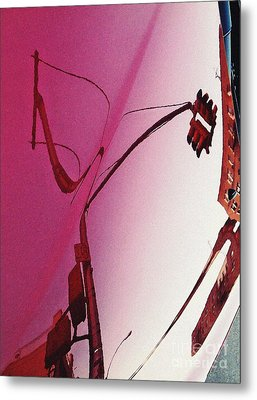 Reflection On A Red Automobile Metal Print by Sarah Loft