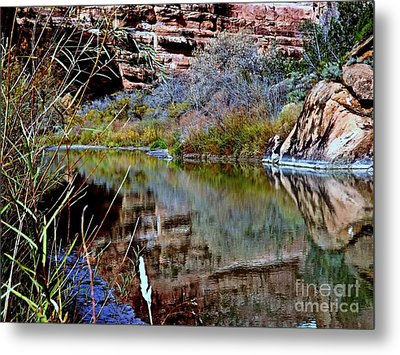 Reflections In Desert River Canyon Metal Print by Annie Gibbons