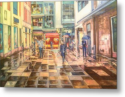 Reflections In The Pavement, Brown Street, Manchester Metal Print