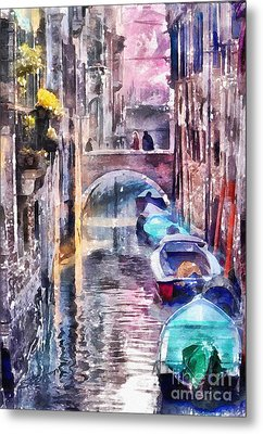 Reflections Of Venice Metal Print by Shirley Stalter