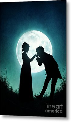 Regency Couple Silhouetted By The Full Moon Metal Print by Lee Avison
