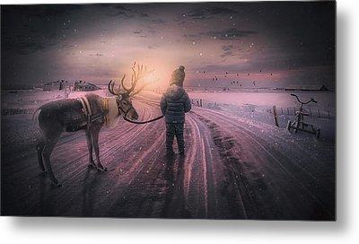 Reindeer Walk Metal Print