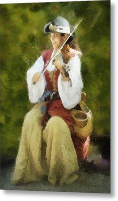 Renaissance Fiddler Lady Metal Print by Francesa Miller