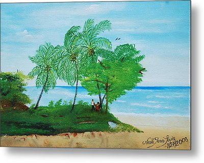 Metal Print featuring the painting Rendez-vous By The Beach by Nicole Jean-Louis