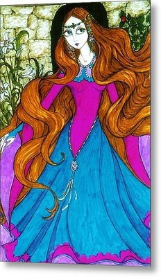Metal Print featuring the drawing Repunzel by Rae Chichilnitsky