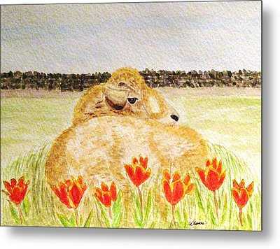 Resting In The Tulips Metal Print by Angela Davies