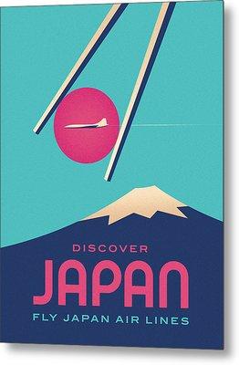 Retro Japan Mt Fuji Tourism - B Metal Print