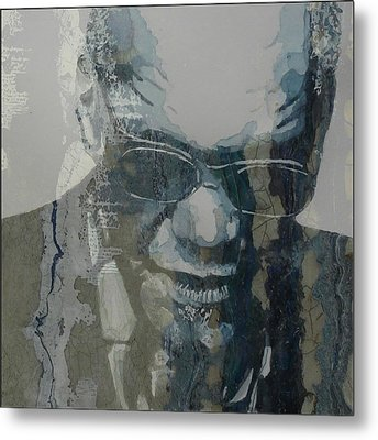 Metal Print featuring the mixed media Retro / Ray Charles  by Paul Lovering