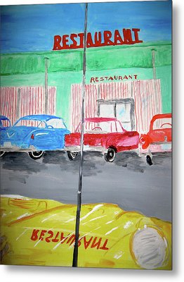 Metal Print featuring the painting Retro Restaurant by Rebecca Wood