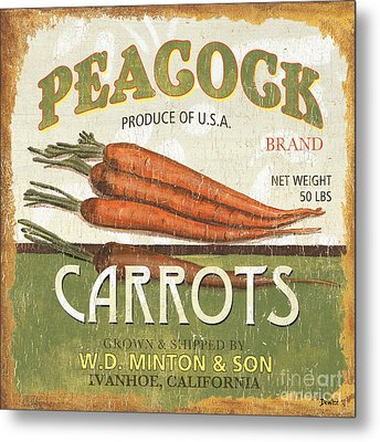 Retro Veggie Label 2 Metal Print by Debbie DeWitt