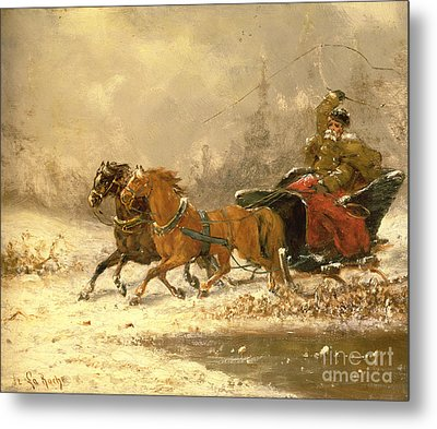 Returning Home In Winter Metal Print