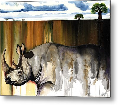 Metal Print featuring the mixed media Rhino I Rooted Ground by Anthony Burks Sr
