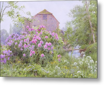 Rhododendrons By A Watermill Metal Print by George Marks