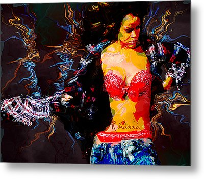 Rihanna Abstract By Gbs Metal Print by Anibal Diaz