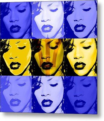 Rihanna Warhol Barbados By Gbs Metal Print by Anibal Diaz