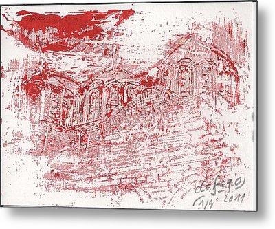 Rila Monastery Red Metal Print by De Fago