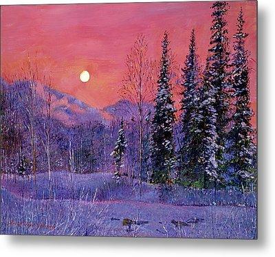 Rising Snow Moon Metal Print by David Lloyd Glover