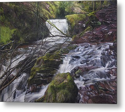 River At Talybont On Usk In The Brecon Beacons Metal Print by Harry Robertson