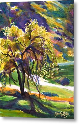River Island Lone Oak Metal Print by Therese Fowler-Bailey