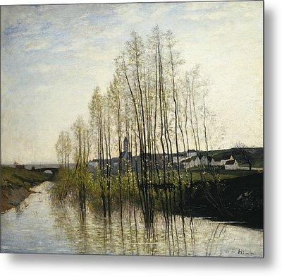 River Landscape, Champagne Metal Print by Carl Fredrik Hill