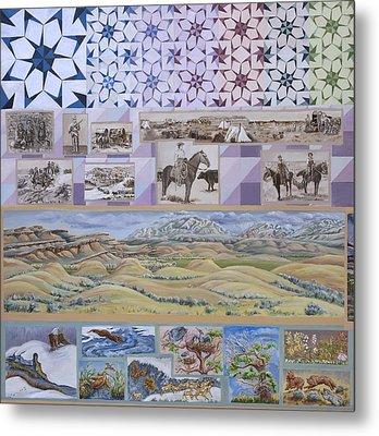 River Mural Spring Panel Top Half Metal Print