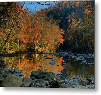 River Reflection Buffalo National River At Ponca Metal Print by Michael Dougherty