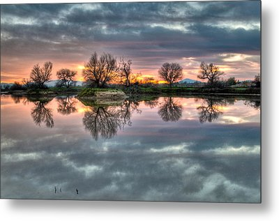 River Reflection Sunrise Metal Print
