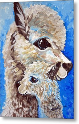 Metal Print featuring the painting River Ridge Alpaca by Patty Sjolin