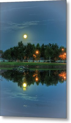 River Walk Park Full Moon Reflection 2 Metal Print