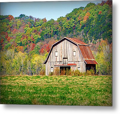 Riverbottom Barn In Fall Metal Print by Cricket Hackmann