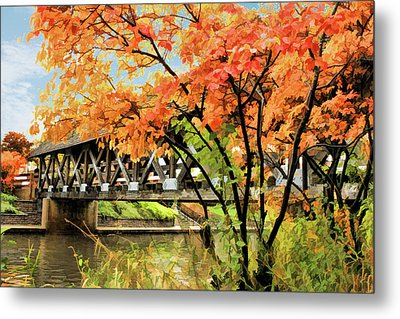 Metal Print featuring the painting Riverwalk Covered Bridge by Christopher Arndt